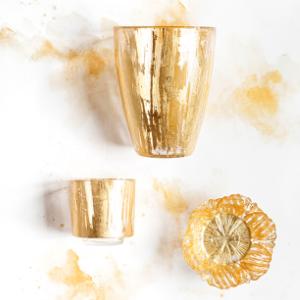 gold vietri rufolo glass bowl plate knife holiday christmas dinnerware reception italy blown legant