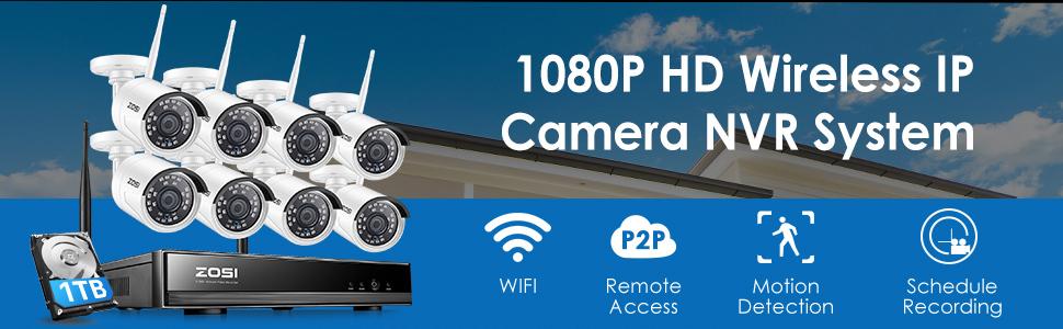 ZOSI Wireless CCTV Camera Systems, 8x 1080p Wireless IP Cameras with 1TB Hard Drive