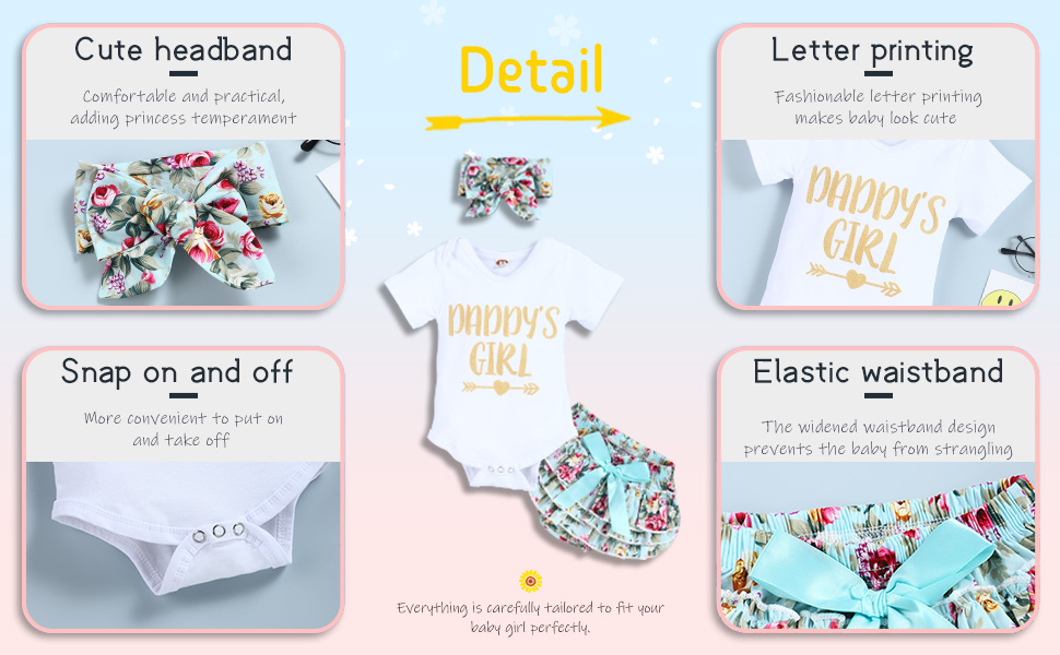 Infant Baby Girl Clothes Daddy's Girl Letter Print Romper Floral Shorts 3PCs Toddler Outfits Set