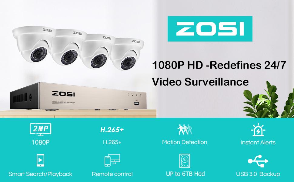 ZOSI H.265+ 8 Channel 1080p Home Security Camera System 2MP Surveillance DVER 4 CCTV Cameras remote