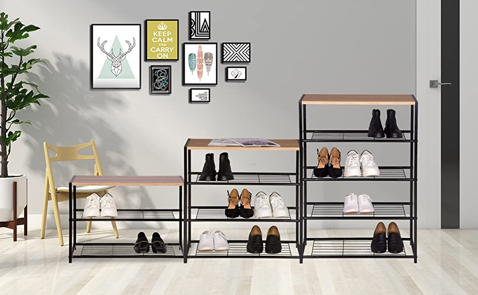 Metal Wood Shoe Storage Cabinet cupboards Organizer for Hallway WOLTU Shoe Rack 3 Tier Shoe Bench with Seat Standing