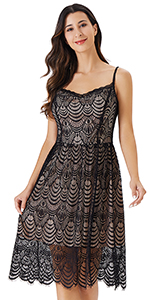 InsNova Women's Sleeveless Lace Midi Cocktail Dresses for Party Wedding Guest