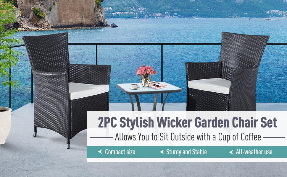 2pcs Rattan Chair Set Garden Wicker Seat Outdoor Patio Furniture with Armrest