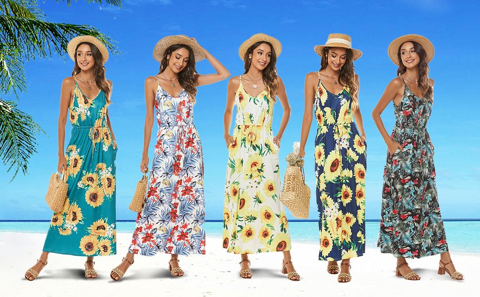 women sunflower dresses v neck spaghetti strap sleeveless flower floral print pockets dress