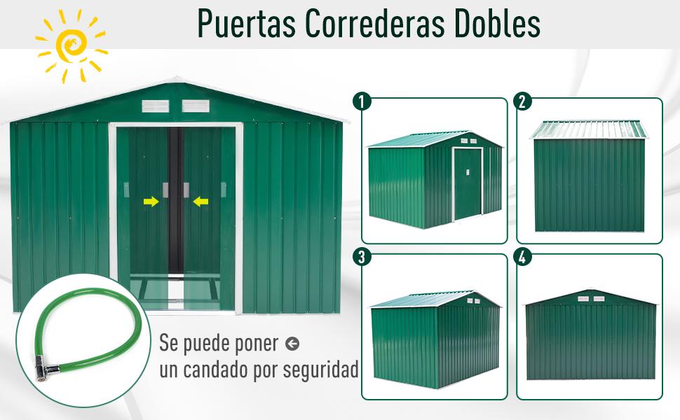 Outsunny Caseta de Jardín Tipo Cobertizo Metálico Ocre para Almacenamiento de Herramientas 277x191x192cm Verde Oscuro: Amazon.es: Jardín