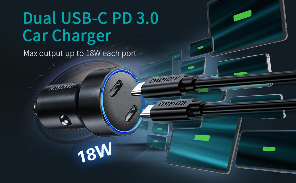 Dual 18w car charger