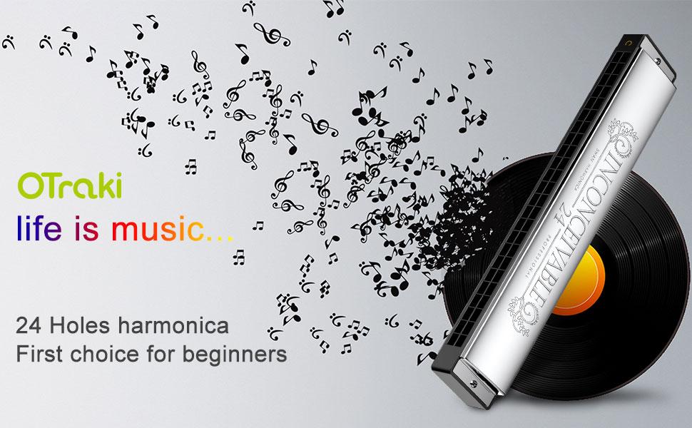 OTraki Harmonica trémolo 24 trous clés de C Harmonica avec étui et chiffon de nettoyage