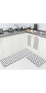 Chevron kitchen bathroom kitchen throw rug set