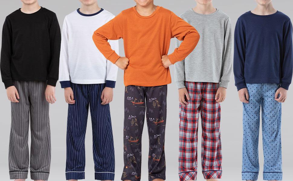 Lineup of boys two piece pajama sets
