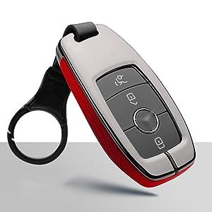 Ontto Smart Autoschlüssel Hülle Abdeckung Schlüssel Tasche Für Mercedes Benz A B C E S R M G Klass Cla Glc Gt Metall Zink Legierung Leder Schlüsselschutz Keyless Mit Schlüsselbund Schwarz A Auto