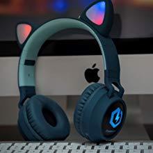 LED light cat ears wireless headphones for kids over ear bluetooth children headphones volume