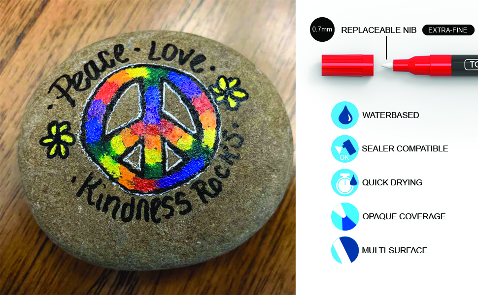 Example of rock painted with bright vivid colors waterbased quick drying opaque paint multi surface