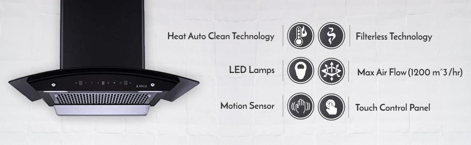 Elica 60 cm 1100 m3/hr Filterless Auto Clean Chimney WDFL 606 HAC MS NERO, Motion Sensor Control