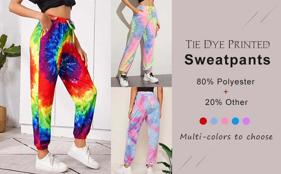 Flygo Women's Tie Dye Printed Workout Yoga Running Joggers Pants Sweatpants