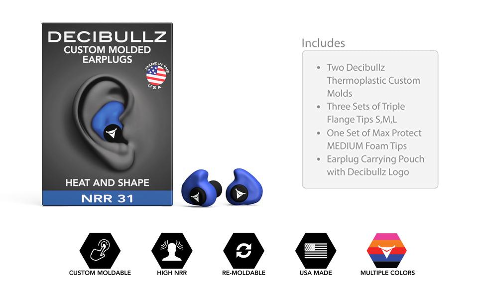Custom Molded Ear Plugs BLUE custodia and lanyard New Material