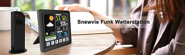 Funk Wetterstation Farbdisplay Thermometer Außensensor Digital Hygrometer Touch