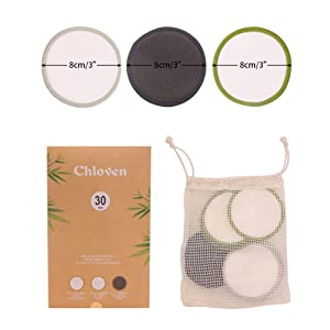 Chloven Bamboo Reusable Cotton Rounds for Toner