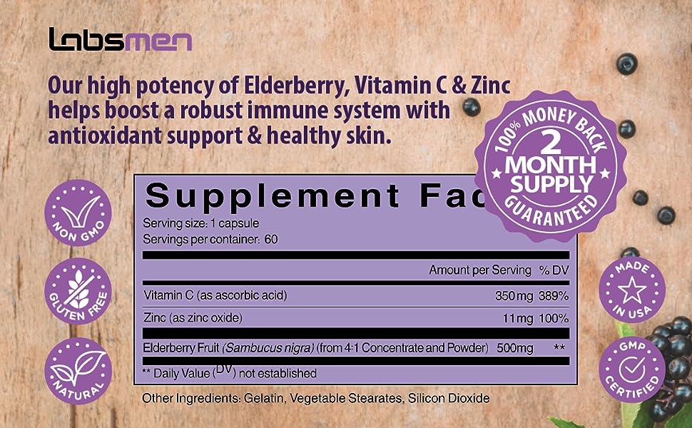 High potentcy Elderberry VItamin C Zinc boost robust immune system antioxidant support healthy skin