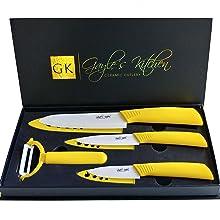 4-Piece Yellow Ceramic Knife Set