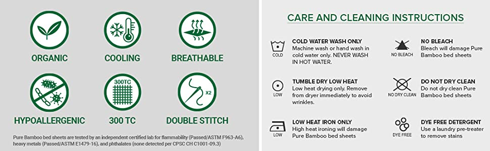 Organic Bamboo Cleaning and Care Instructions Cooling Breathable Fabric