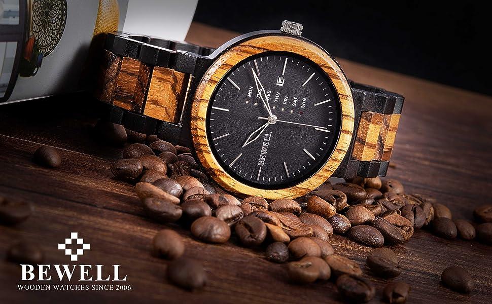 bewell 木製腕時計 メンズ 木製 腕時計 メンズ 日付 防水 日本製