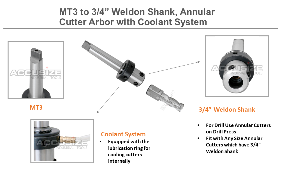 Mt3 to 3/4'' Weldon Shank, Annular Cutter Arbor with Coolant System for Drill- Use Annular Cutter