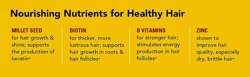 hair nutrients, millet seed, hair growth, keratin, biotin, b vitamin, zinc, thicker hair, lustrous