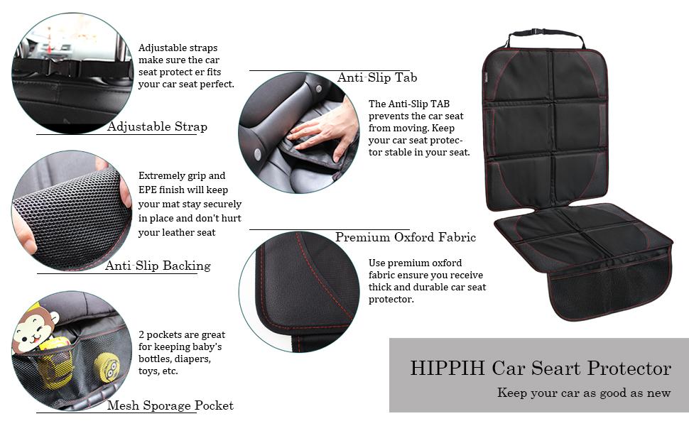 Protector de asiento de coche para beb/é antideslizante y resistente a la suciedad 1 unidad de tama/ño S para beb/é y ni/ño acolchado grueso de piel