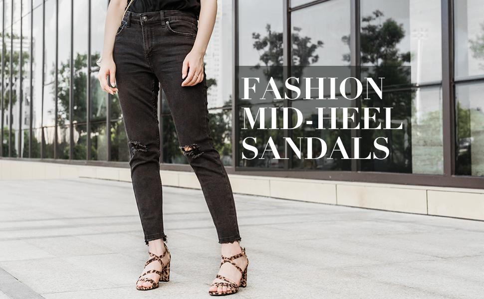 women chunky heel sandals
