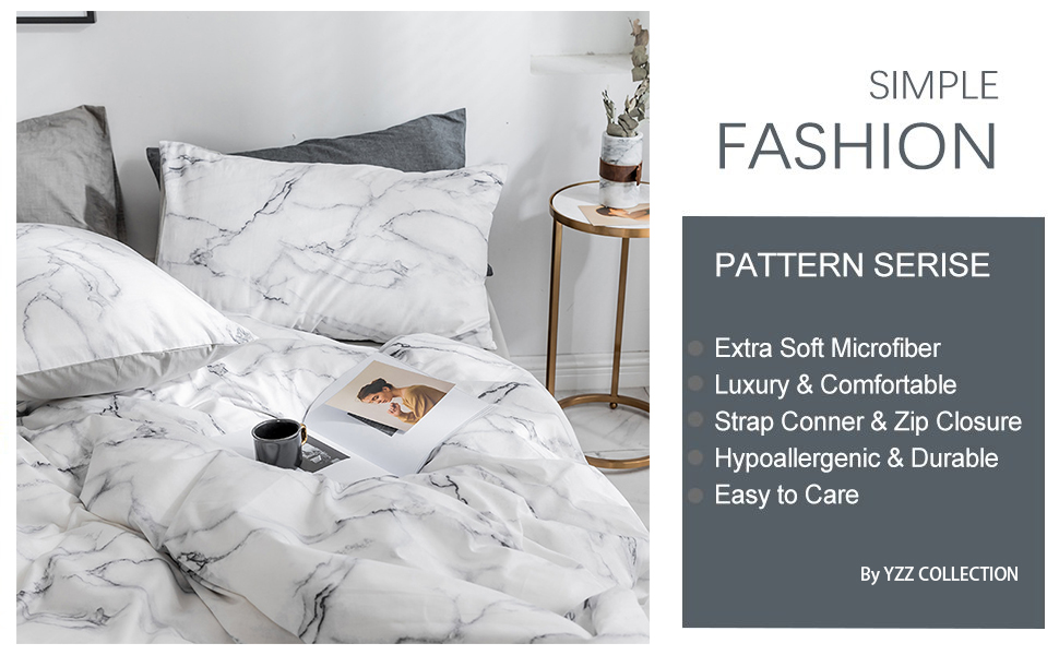 Premium Microfiber,Marble Pattern On Comforter Cover-3pcs:1x Duvet Cover 2X Pillowcases,Comforter Cover with Zipper Closure YZZ COLLECTION Queen Bedding Duvet Cover Set