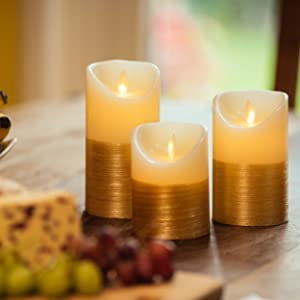 gold candles, ivory candles