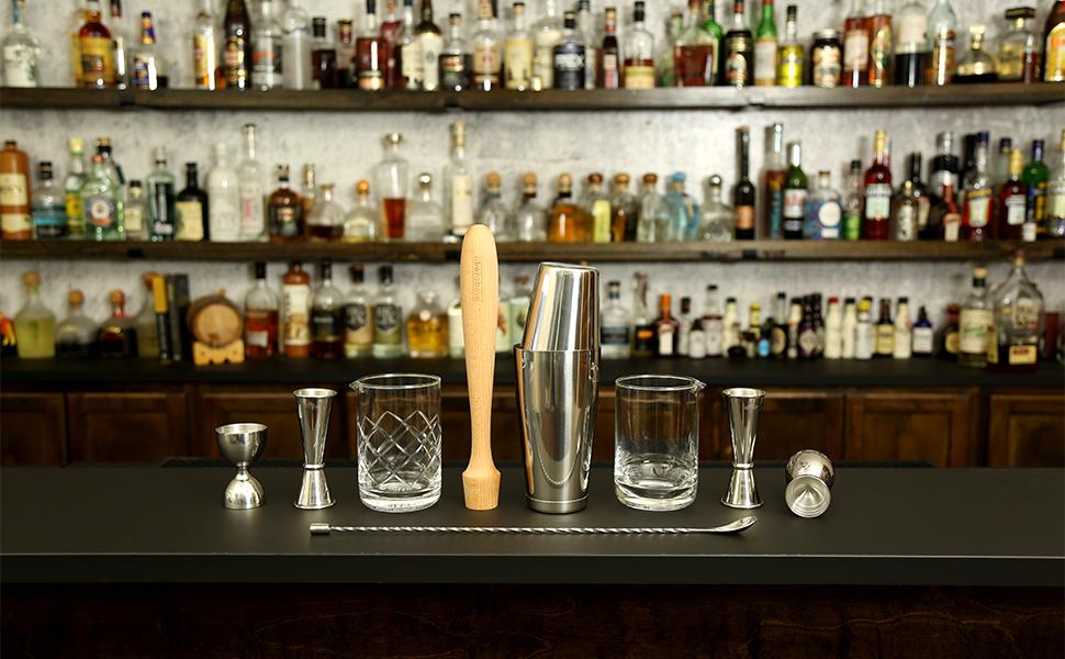 measuring cups, cocktail shaker, cocktail glasses, tool set,bartender kit,cocktail shaker set,jigger