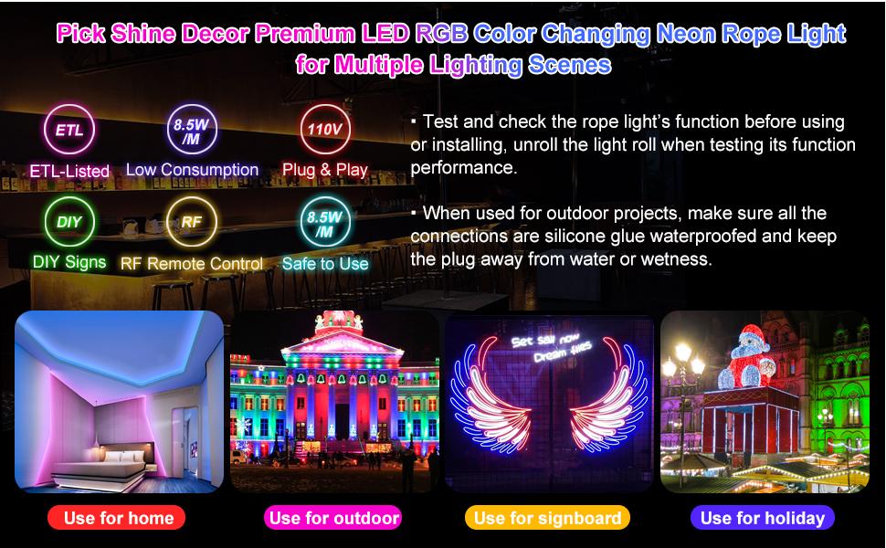 Shine Decor LED RGB Neon Rope Light