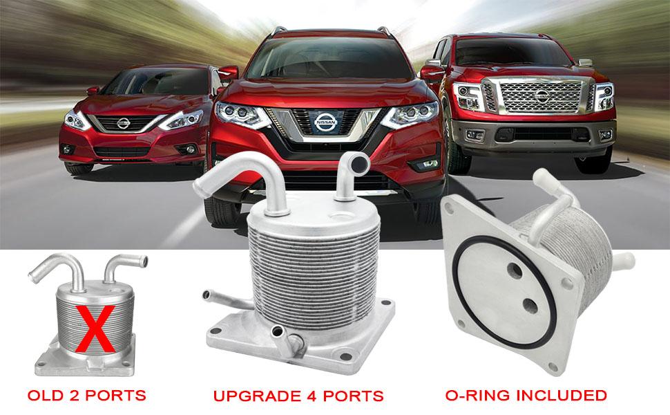 Upgraded CVT Transmission Oil Cooler for Nissan 2007-2012 Sentra /  2011-2014 Juke / 2008-2018 Rogue / 2012-2018 Versa Sedan 21606-1XF0A 4 Port
