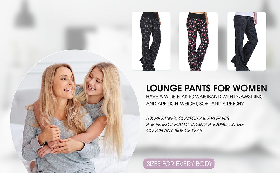 lounge pants for women stretchy sweatpants pajama plus size petite soft sleep loose wide leg fit