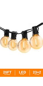 Svater 25FT Led Globe String Lights Outdoor LED Commercial Grade Patio Lights