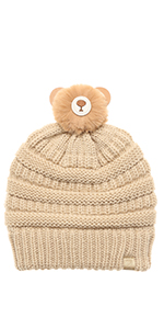 MIRMARU Kids Boys amp; Girls Winter Soft Warm Knitted Beanie Hat with Faux Fur Pom Pom for Ages 7-12