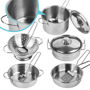 Stainless Steel Cookware Pots and Pans Toys