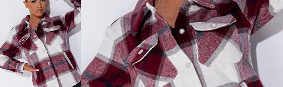 womens winter plaid lapel button down long sleeve shacket jacket coat winter loose oversize shirts