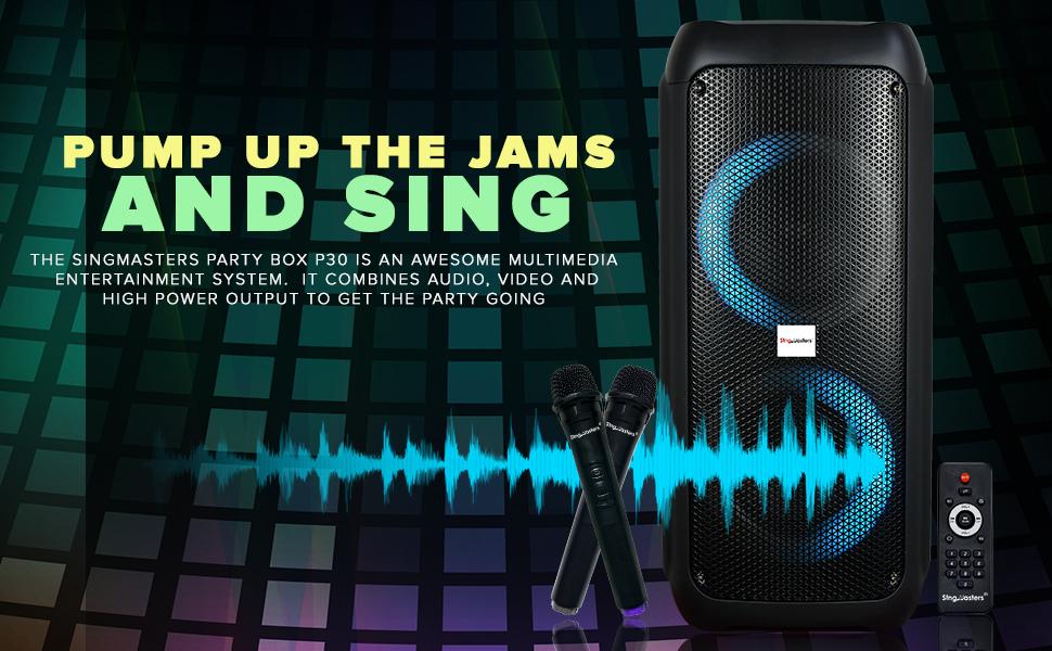 karaoke party speaker bluetooth trolley singmasters wirless mic