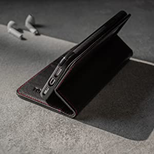 The TORRO Stand Case for iPhone 11 in Premium Black Napa Leather with contrasting Red Stitching