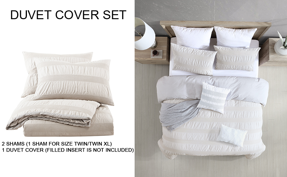 Moselle Cotton Ruched & Waffle Weave Duvet Cover Set