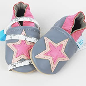 Dotty Fish Grey and Pink Star Baby Shoes, getting the right size baby shoes , crib shoes