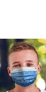 Kids face masks blue