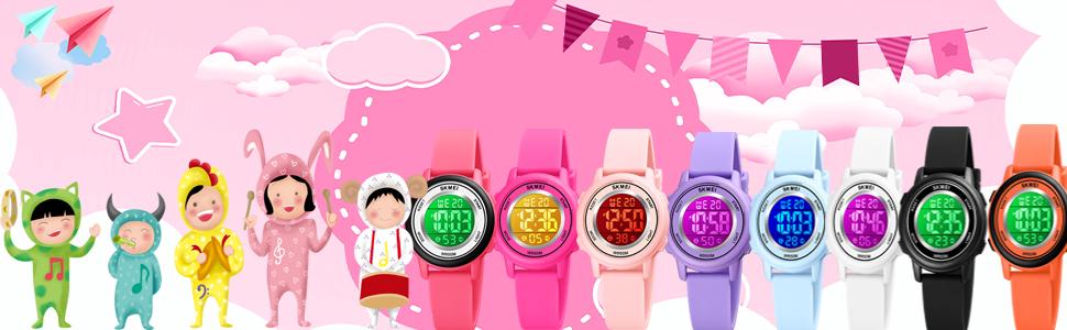 Kids Watch Digital Waterproof for Girls Boys Toddler Cute Sport Outdoor Multifunctional Watches
