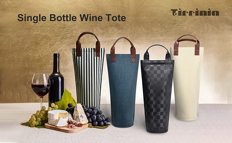 Amazon Com Tirrinia Single Wine Tote Bag Insulated Padded Thermal Wine Bottle Carrying Cooler Carrier For Travel Picnic Great Gift For Wine Lover Black Bar Tools Drinkware