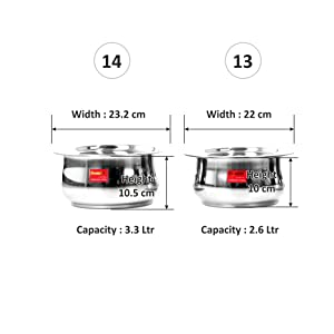 Sumeet Stainless Steel Induction Gas Stove Friendly Belly Shape Container Set/Tope/Cookware with Lid