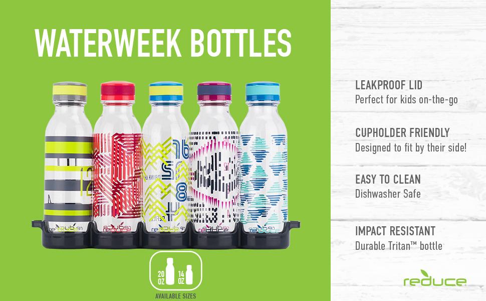 dishwasher safe water bottle bottles set fun 6 pack reuseable 16 oz