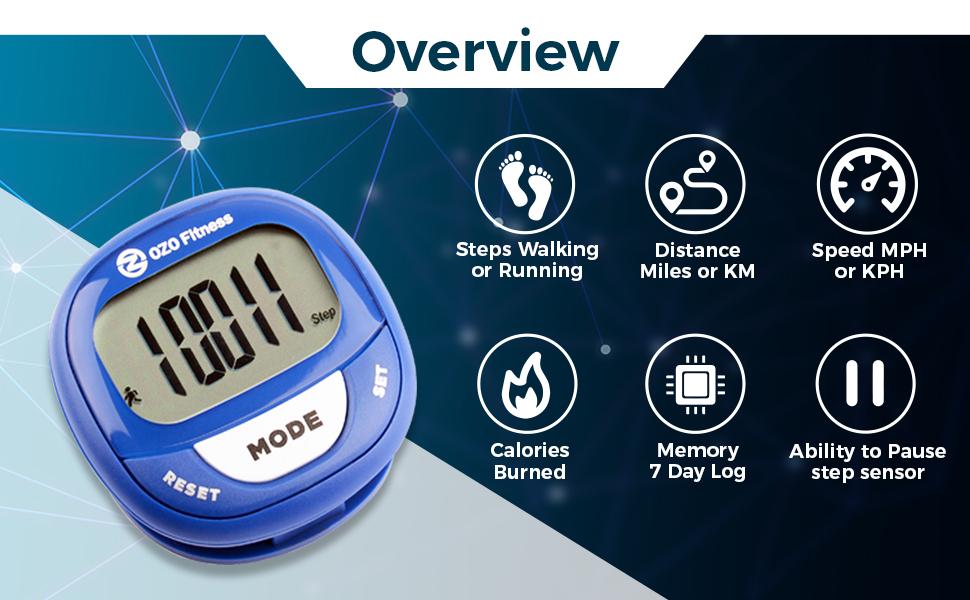 SC2 Digital Pedometer, OZO Fitness, Step counter, tracker, seniors