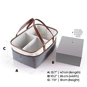 Nursery Diaper Tote Bag Portable Car Travel Organizer Baby Shower Gift Basket RB